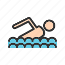 competition, olympic, pool, swimmer, swimming, track, water