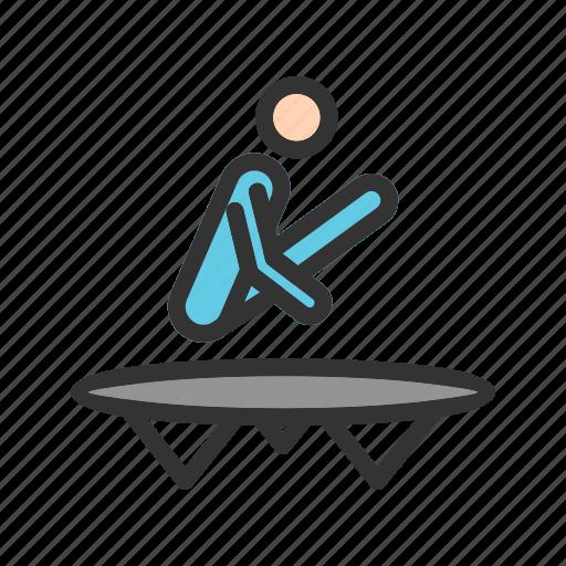 athlete, fit, gymnast, jump, olympics, sport, trampoline icon