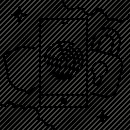 fingerprint, lock, sequrity, shield, smartphone icon