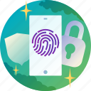 sequrity, lock, smartphone, shield, fingerprint, onboarding