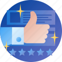 rate, appreciate, like, favorites, thumb up, onboarding