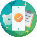 alarm, check, clipboard, clock, proactive, smartphone icon