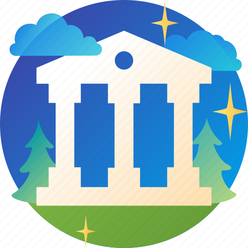 bank, banking, building, column, finance icon