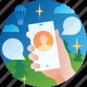 conversation, message, mobile, smartphone, talk, onboarding