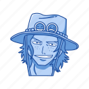 anime, cartoons, fictional character, fire fist ace, one piece, pirate, portgas d. ace icon