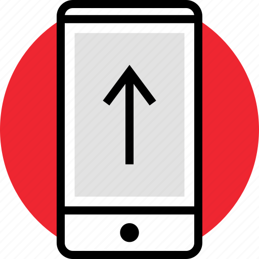 arrow, cell, phone, up icon