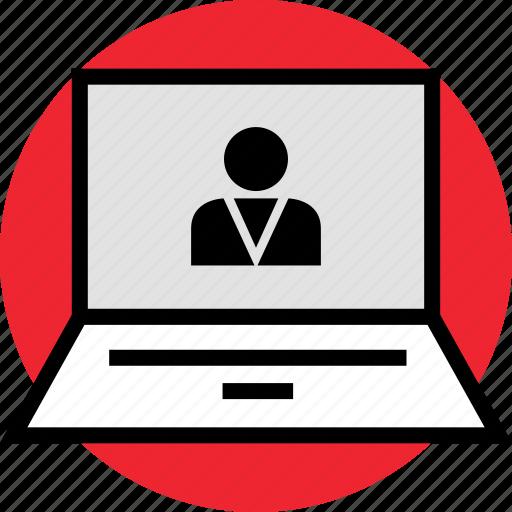 internet, laptop, user icon