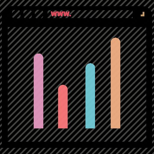 Bar chart, browsing, bar graph, online icon