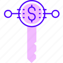 internet, key, money, online, protection, security icon