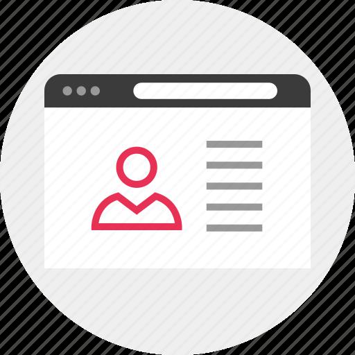 id, user, web icon