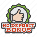 bonus, casino, deposit, no, no deposit bonus, sign icon