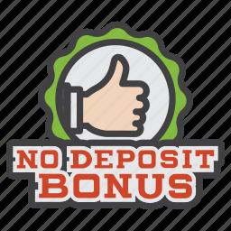 bonus, casino, deposit, no, no deposit bonus, sign icon
