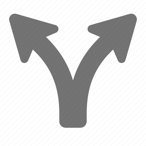 arrow, arrows, choice, direction, forking, split, two icon
