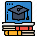 course, degree, learning, online icon