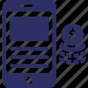 m commerce, mobile app, mobile app monetization, mobile banking icon