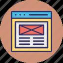 website content, website interface, website layout, website mockup icon