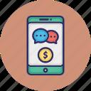 finance chat app, finance communication, finance media, mobile chat icon
