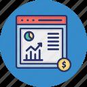 business analysis, data analytics, financial analytics, growth chart icon