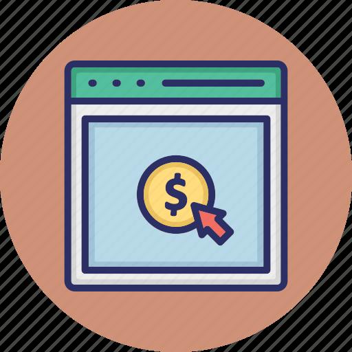 cost per click, digital advertising, online marketing, pay per click icon