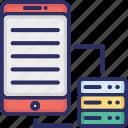 data backing, data backup, mobile backup, mobile data restore icon