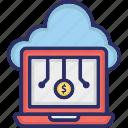 cloud computing, cloud monetization, cloud money, cloud technology icon