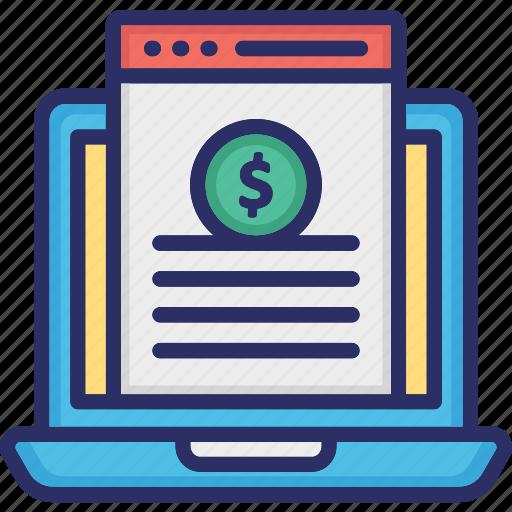 business website, digital webpage, financial evaluation website, online banking icon