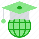 cap, earth, education, global, globe, graduation, hat