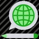 communication, education, globe, internet, online education, pencil