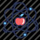 physics, apple, atom, science