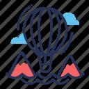 air, balloon, explore, mountains icon