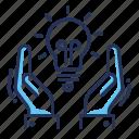bulb, hands, idea, light