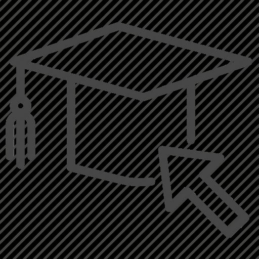 academic, cap, education, graduated, graduation, hat, online icon