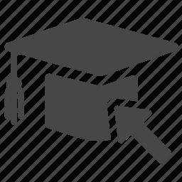 cap, education, graduated, graduation, online, school, study icon