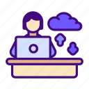 home, work, cloud, online, data, transfer, learning icon