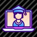 graduation, cap, laptop, graduate, education, student, online