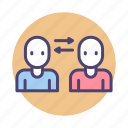 knowledge transfer, social, two way communication icon