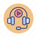 audio, audio course, headphones, multimedia icon