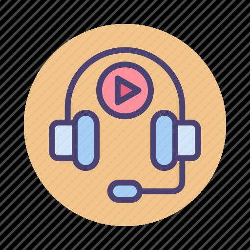 audio, audio course, headphones, multimedia icon