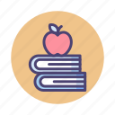 apple, back to school, books icon