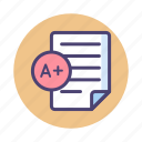 a+, grade, report, results icon