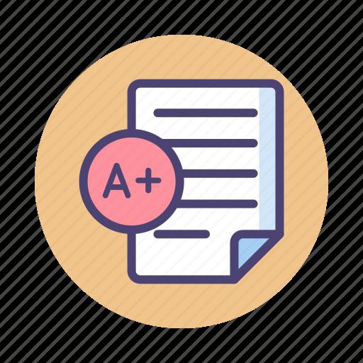 a+, grade, report, results icon