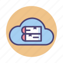 cloud, cloud library, e library, e-library, library, online library icon
