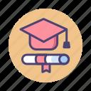 certificate, degree, diploma, education, graduate, graduation, mortarboard icon