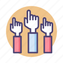 group class, hands up, raise hands icon