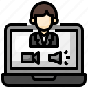 video, call, conversation, assistance, computer, doctor icon