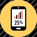 cell, percent, phone, twentyfive icon