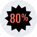 eighty, percent, price, save, tag icon
