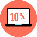 laptop, online, percentage, rate icon