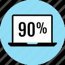 laptop, ninety, online, percent, web icon