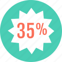firve, percent, save, savings, thirty icon
